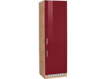 HELD MÖBEL Kühlumbauschrank »Tinnum« 60 cm breit, 200 cm hoch, Metallgriffe, MDF Fronten, für Einbau-Kühlgefrierkombination mit Nischenmaß 178 cm, rot