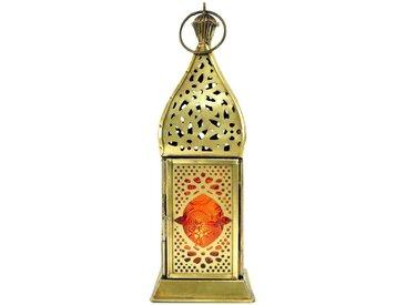 Guru-Shop Laterne »Orientalische Metall/Glas Laterne in..«, orange, orange-mehrfarbig