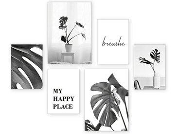 Kreative Feder Poster, Pflanze, Natur, Spruch, Ruhe, Schwarz-Weiß, Fotografie (Set, 6 Stück), 6-teiliges Poster-Set, Kunstdruck, Wandbild, Posterwand, Bilderwand
