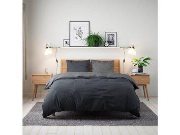 BETTWARENSHOP Wendebettwäsche »Doubleface«, zeitlose Baumwollbettwäsche, schwarz, 1 St. x 155 cm x 200 cm, 2 tlg., schwarz-grau