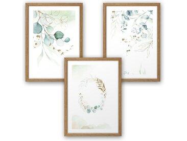 Kreative Feder Poster, Aquarell, Natur, Pflanze, Blätter, Zweige, elegant, grün (Set, 3 Stück), 3-teiliges Poster-Set, Kunstdruck, Wandbild, wahlw. in DIN A4 / A3, 3-WP015
