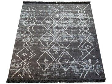 Paco Home Teppich »Kelim 317«, rechteckig, Höhe 19 mm, Kurzflor mit Scandi-Design und Fransen, grau, grau