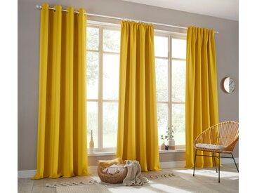 my home Verdunkelungsvorhang »Sola«, Ösen (1 Stück), Breite 130 cm und 270 cm, gelb, messingfarben