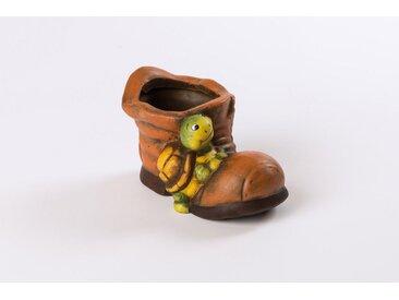 HGD Holz-Glas-Design 2er-Set Blumentopf Keramik-Schuh mit Schildkröte, braun, Braun