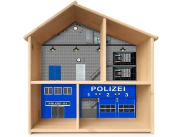 STIKKIPIX Möbelfolie »PHF05«, Polizei Aufkleber, passend für das Puppenhaus FLISAT von IKEA, Möbel Nicht Inklusive