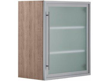 OPTIFIT Glashängeschrank, Breite 60 cm, grau, alu/eichefarben-trüffel