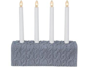 """STAR TRADING Kerzenleuchter »Kerzenleuchter """"Concrete"""" - 4flamig - warmweiße Glühlampen - H: 28,5cm, L: 28cm - Grau/Strickmuster«"""