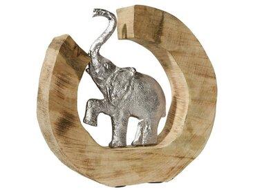 heine home Deko-Objekt aus massivem Holz mit Elefant, natur, natur/silberfarben