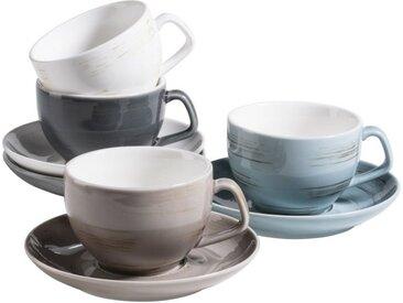MÄSER Set: Kaffeetassen-Set, Porzellan »Derby« 8, Hellblau, Weiß, Beige,
