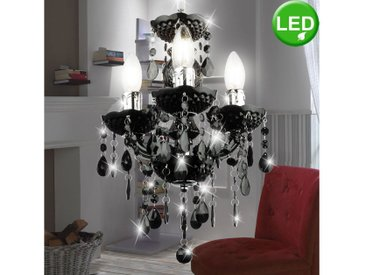 etc-shop Kronleuchter, LED Kron Leuchter schwarz Chrom Decken Pendel Lampe weiß klar Vintage FILAMENT Hänge Leuchte dimmbar