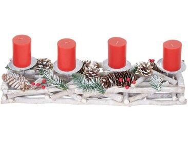 MCW Adventskranz »T867«, Mit 4 Kerzenhaltern, Aufwendig geschmückt, weiß, weiß, rote Kerzen