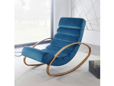 FINEBUY Schaukelstuhl »FB23824« Relaxliege Samt Blau / Gold 150 kg Belastbar Schwingsessel 61x81x111 cm Design Schaukelstuhl Innenbereich Schwingstuhl Lounge Liege Modern