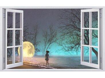 DesFoli Wandtattoo »Mystischer Wald Mond Kind Leuchtkugel F2360«