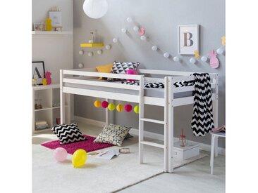 Homestyle4u Hochbett »Kinderbett Spielbett Kiefer massiv weiß« verschiedene Ausführungen, ohne Rutsche