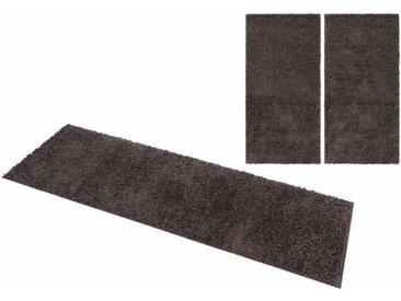Home affaire Bettumrandung »Shaggy 30« , Höhe 30 mm, gewebt, 2- oder 3-teilig, grau, dunkelgrau