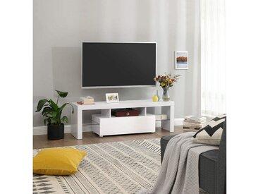 VASAGLE TV-Schrank »LTV14WT« Fernsehtisch für Fernseher bis 60 Zoll, großer TV-Schrank, Fernsehschrank, TV-Regal mit LED-Beleuchtung, Lowboard, Wohnzimmer, 140 x 35 x 45 cm, modern