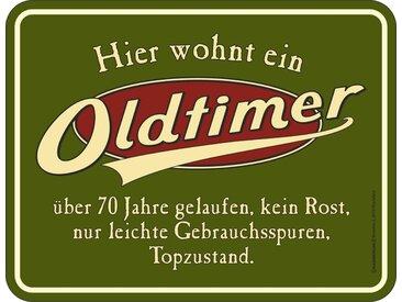 Rahmenlos Blechschild mit lustigem Spruch »Oldtimer«, bunt, mehrfarbig