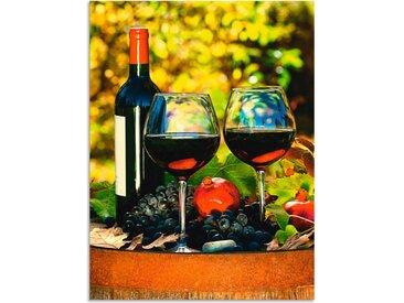 Artland Wandbild »Gläser Rotwein auf altem Fass«, Getränke (1 Stück), Alu-Dibond-Druck