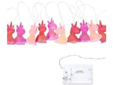 Navaris LED-Lichterkette, LED Lichtband Einhorn Design - 2m lang - Süße Kinder Nachtlicht Minilichterkette mit kaltweißem Licht - Lichter Kette, rosa