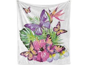 Abakuhaus Foulard »Gemütlicher Plüsch für den Innen- und Außenbereich«, Pflanze Aquarell Tropic Schmetterlinge
