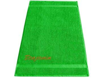 Lashuma Saunatuch »Linz« (1-St), Liege Badetuch mit Namen Stick, XXL Handtuch 70x200 cm, grün, grasgrün