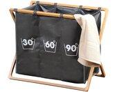 KESPER for kitchen & home Wäschesortierer, aus strapazierfähigem Polyester mit Bambussstreben (FSC), grau