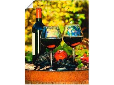 Artland Wandbild »Gläser Rotwein auf altem Fass«, Getränke (1 Stück), Poster