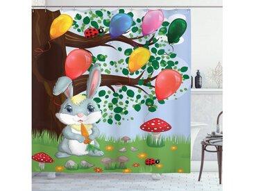 Abakuhaus Duschvorhang »Moderner Digitaldruck mit 12 Haken auf Stoff Wasser Resistent« Breite 175 cm, Höhe 180 cm, Blumen Insekten Häschen-Ballone