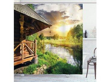 Abakuhaus Duschvorhang »Moderner Digitaldruck mit 12 Haken auf Stoff Wasser Resistent« Breite 175 cm, Höhe 180 cm, Natur Holzhaus am See