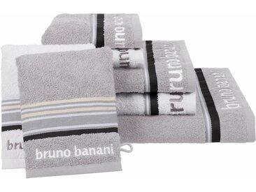 Bruno Banani Handtuch Set »Maja« (Set, 7-tlg), mit farbiger Bordüre, grau, grau-weiß