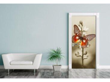 Bilderdepot24 Deco-Panel, Türaufkleber Roter Schmetterling auf einem Feld