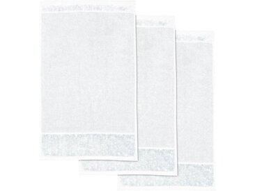 Möve Gästehandtuch »MÖVE Bamboo Luxe 3er Set Gästetuch« (3-St), mit seidig glänzenden Bordüren, weiß, snow