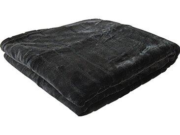 Goldmond Wohndecke »Nerz«, in Felloptik, schwarz, schwarz