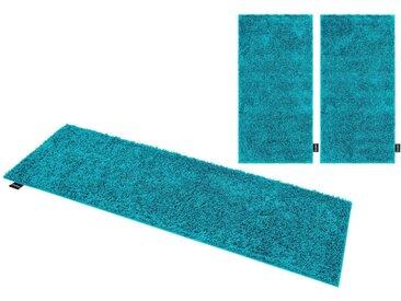 Bruno Banani Hochflor-Bettumrandung »Shaggy Soft« , Höhe 30 mm, (3-tlg), gewebt, blau, türkis