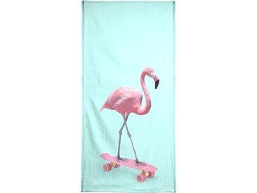 Juniqe Strandtuch »Skate Flamingo« (1-St), Weiche Frottee-Veloursqualität