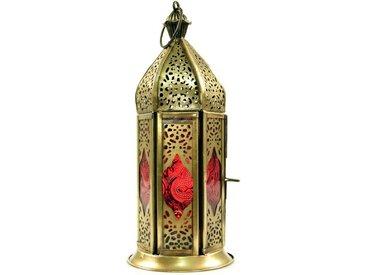 Guru-Shop Laterne »Orientalische Metall/Glas Laterne in..«, rot, rot-mehrfarbig