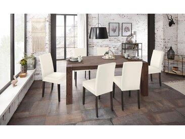 Home affaire Essgruppe »Silje«, (Set, 7-tlg), bestehend aus 6 Lucca Stühlen und dem Maggie Esstisch, natur, Cremefarbener Stuhlbezug