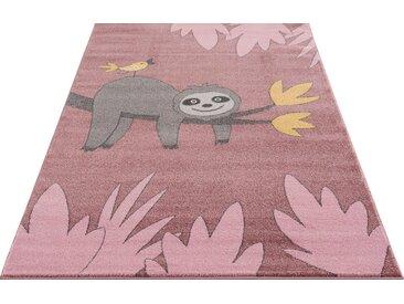 Lüttenhütt Kinderteppich »Faultier«, rechteckig, Höhe 14 mm, weiche Haptik, rosa, rosa