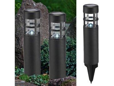 Haushalt International LED Pollerleuchte »LED Solar Wegeleuchten mit Erdspieß - weiße LED - H: 39cm - schwarz - 2er Set«