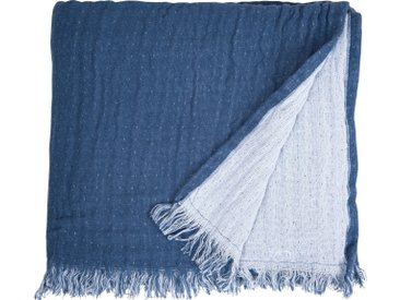 TOM TAILOR Plaid »Fringed Cotton«, mit Fransen, blau, blau