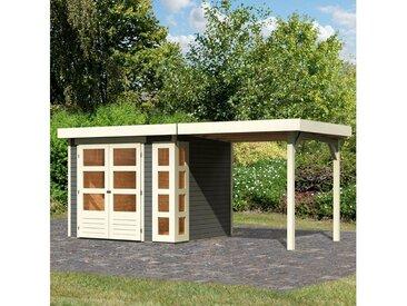 WOODFeeling Gartenhaus »Kerko 3«, BxT: 491x238 cm, (Set), grau, lackiert, terragrau-naturbelassen