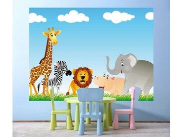 Bilderdepot24 Fototapete, Kinderbild Tiere Cartoon VI, selbstklebendes Vinyl, bunt, Kinderbild Tiere Cartoon VI, bunt
