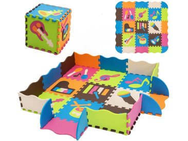 COSTWAY Puzzlematte »Puzzlematte«, 50 Puzzleteile, 50 Stück mit Zaun, Bodenspielmatte mit abnehmbaren Musikinstrumentenmustern, Kinderteppich für Baby und Kinder