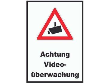 HB-Druck Metallschild »1023 Achtung Videoüberwachung Schild«, 2mm Aluminiumverbundpaltte mit Digitaldruck und Schutzlaminat, selbstklebend