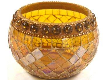 Guru-Shop Windlicht »Mosaik Teelichtglas«, gelb, gelb-rot