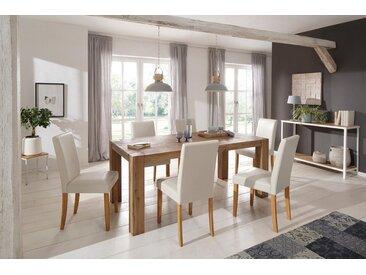 Home affaire Essgruppe »Silje«, (Set, 7-tlg), bestehend aus 6 Lucca Stühlen und dem Maggie Esstisch, natur, cremefarben