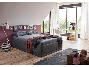 Westfalia Schlafkomfort Polsterbett »Texel«, mit Zierkissen, Komforthöhe, schwarz, ohne Matratze, schwarz