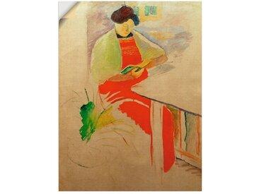 Artland Wandbild »Frau mit roter Schürze auf Balkon (Elisabeth)«, Frau (1 Stück), Wandaufkleber - Vinyl