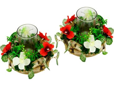 I.GE.A. Kunstpflanze »Kerzenkranz mit Glas« Kerzenkranz, Höhe 12 cm
