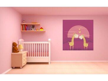 Bilderdepot24 Deco-Panel, selbstklebende Fototapete - Kinderbild - Verliebte Giraffen Cartoon, bunt, Vintage